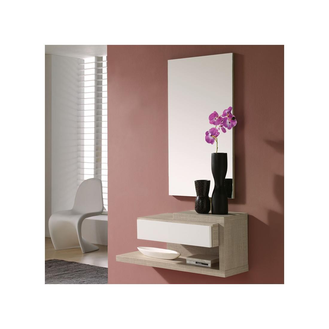 meuble d 39 entr e ch ne clair miroir reca univers petits. Black Bedroom Furniture Sets. Home Design Ideas