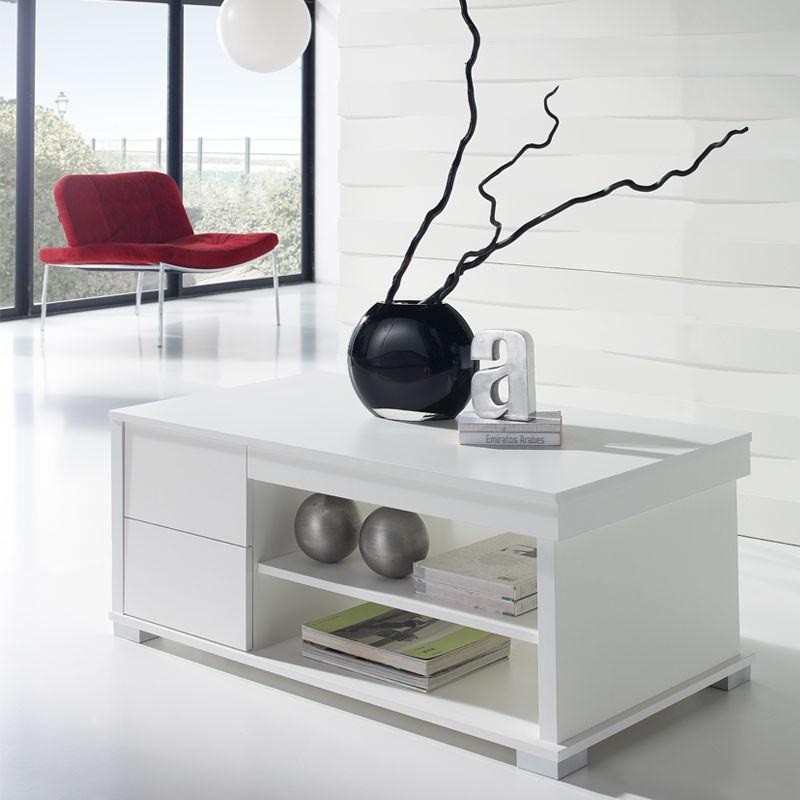 Table basse blanche relevable NESE - Univers du salon: Tousmesmeubles
