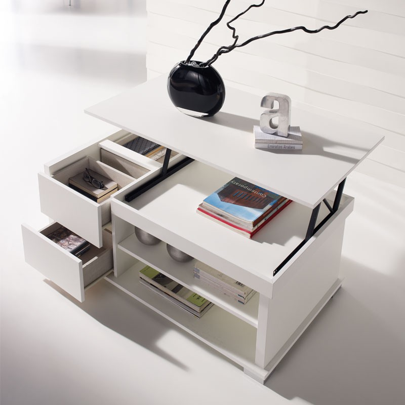 Table basse blanche relevable nese univers du salon tousmesmeubles - Table basse blanche plateau relevable ...