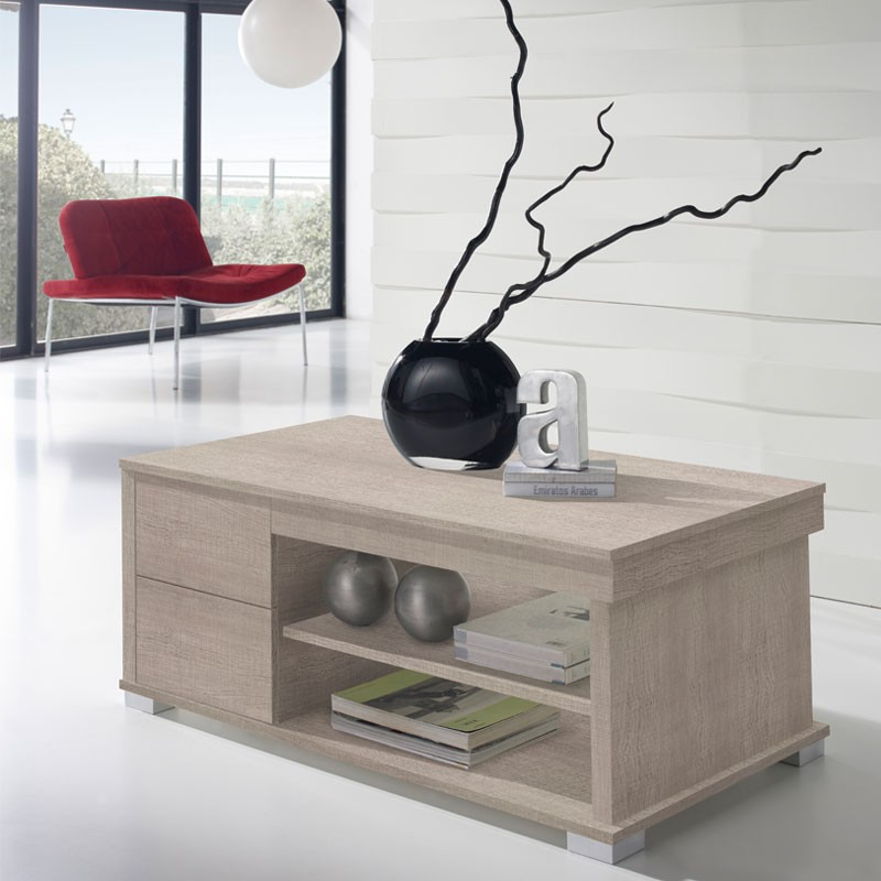 Table basse ch ne clair relevable nese le salon tousmesmeubles - Table basse en chene clair ...
