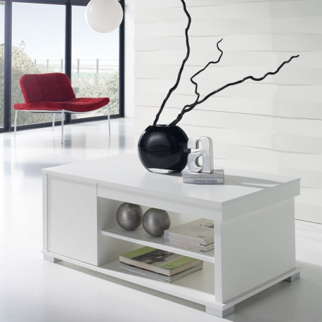 Table basse blanche relevable 2 tiroirs - ESSA