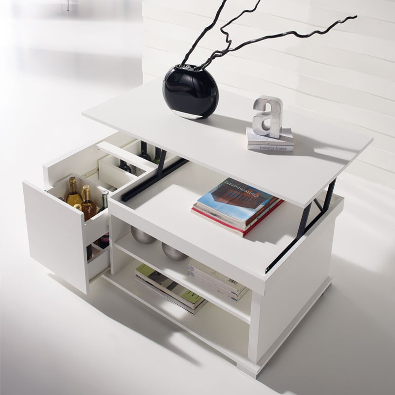 table basse blanche relevable essa univers du salon tousmesmeubles. Black Bedroom Furniture Sets. Home Design Ideas