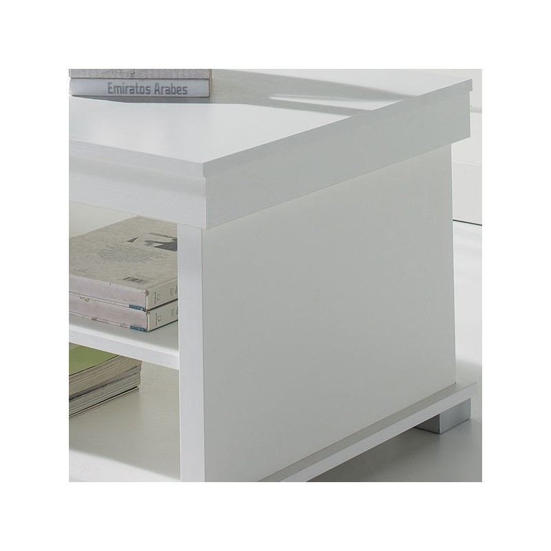 Table basse blanche relevable essa univers du salon tousmesmeubles - Table basse relevable blanche ...