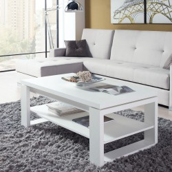 Table basse blanche relevable REENA - Univers du salon: Tousmesmeubles