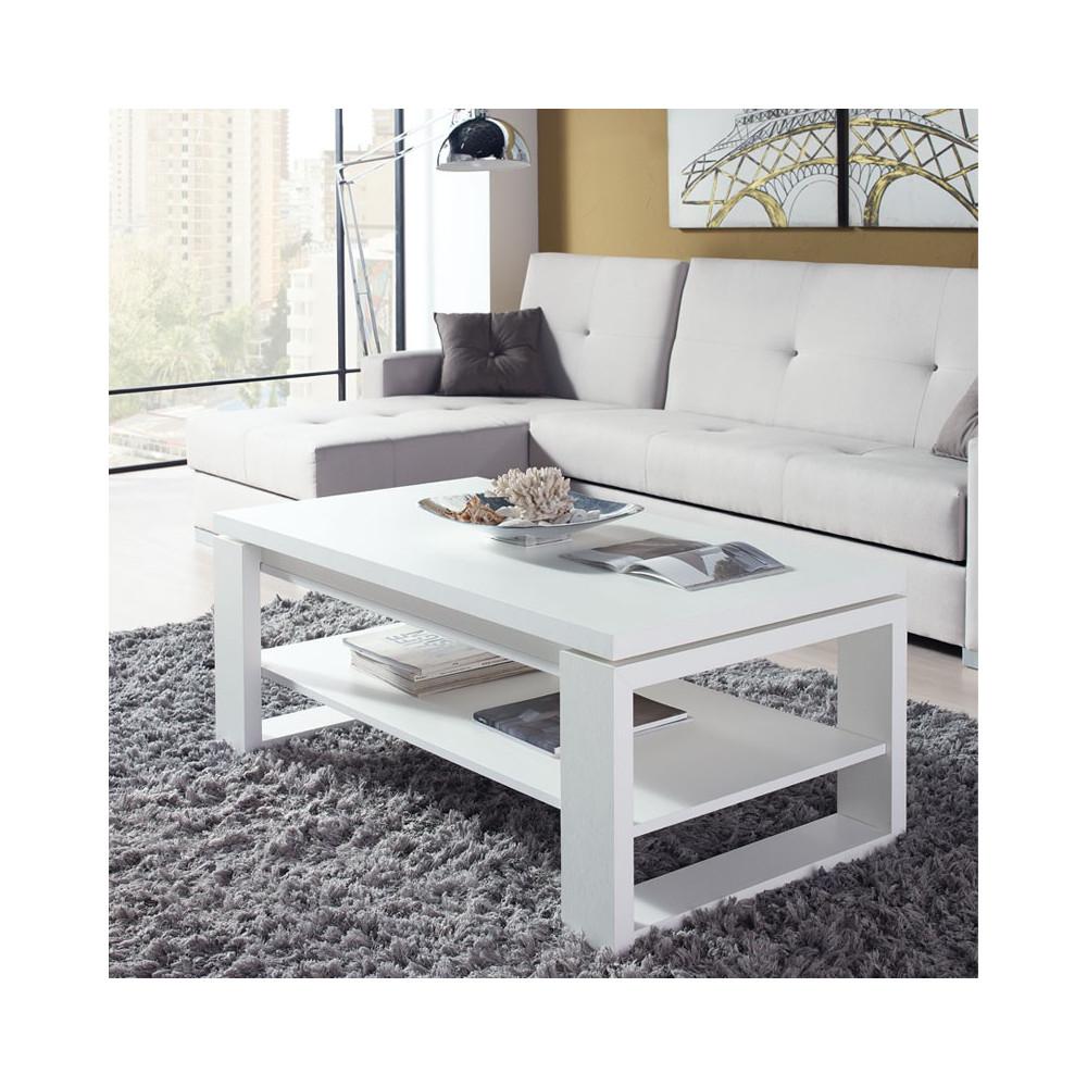 Table basse salon blanche table basse blanche et bois clair ...