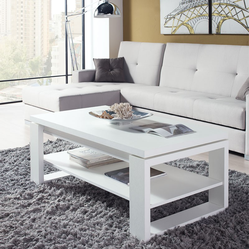 Table basse relevable blanche maison design for Table basse industrielle blanche
