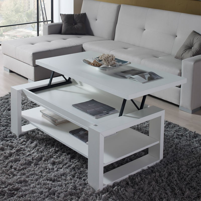 Table basse blanche relevable reena univers du salon tousmesmeubles - Table basse moderne blanche ...