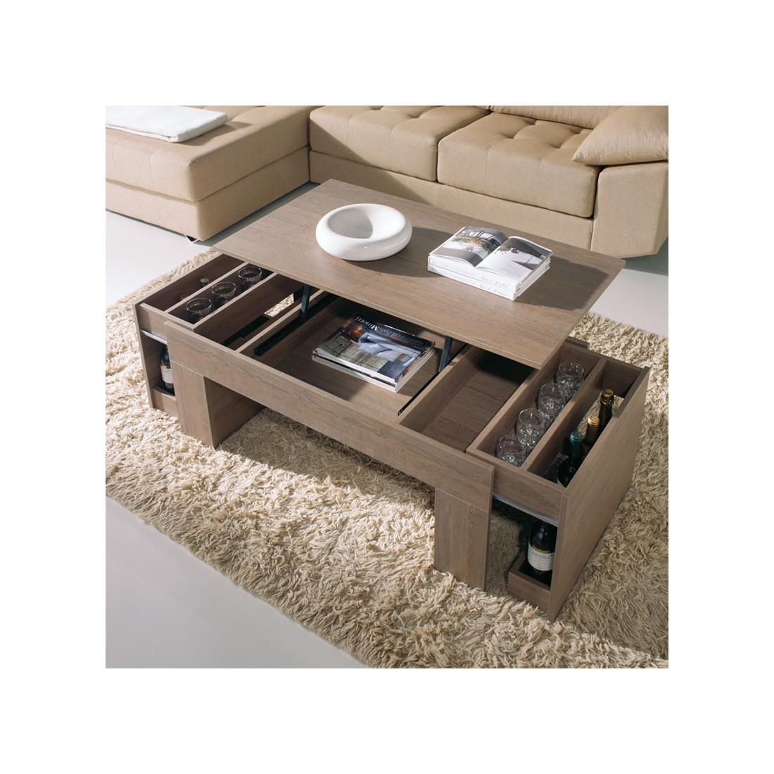 table basse ch ne fonc relevable moly univers salon tousmesmeubles. Black Bedroom Furniture Sets. Home Design Ideas