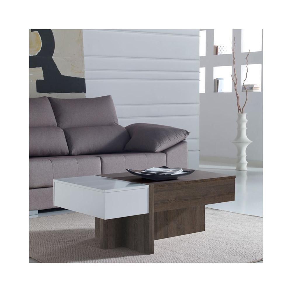 Table basse relevable blanc/chêne foncé - AJAR