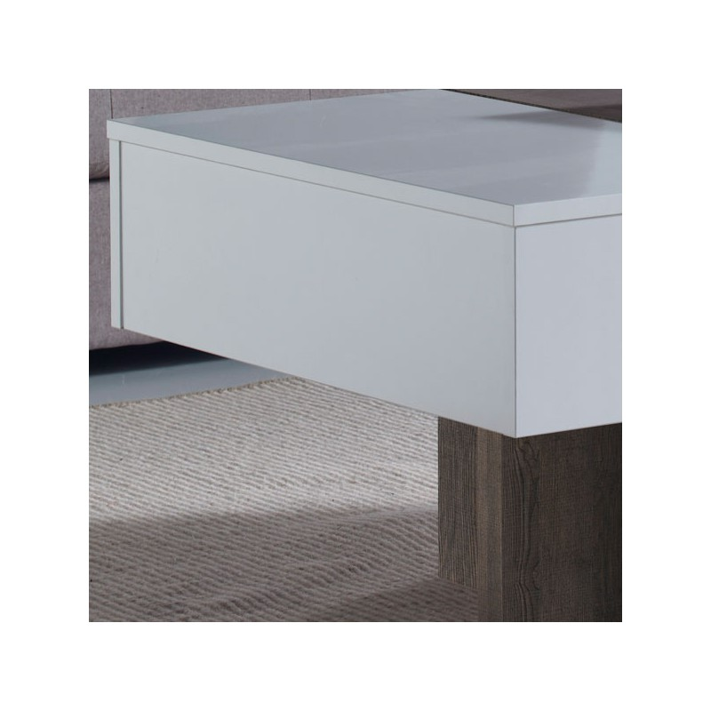 Table basse relevable blanc ch ne fonc ajar salon tousmesmeubles - Table basse relevable blanc ...