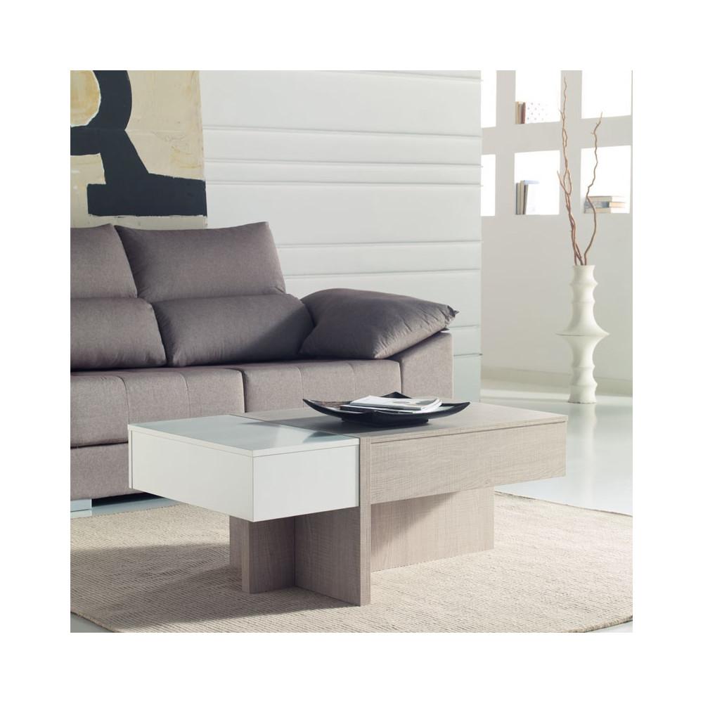 Table basse relevable blanc/chêne clair AJAR - Salon: Tousmesmeubles