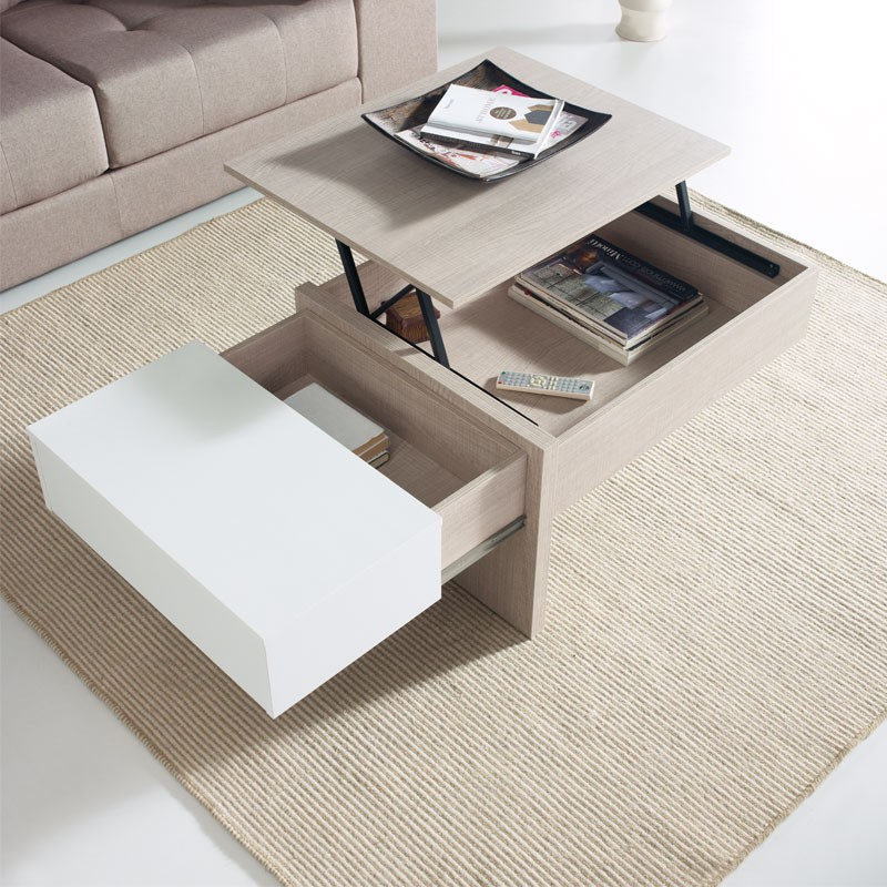 Table basse relevable blanc ch ne clair ajar salon for Table de salon relevable