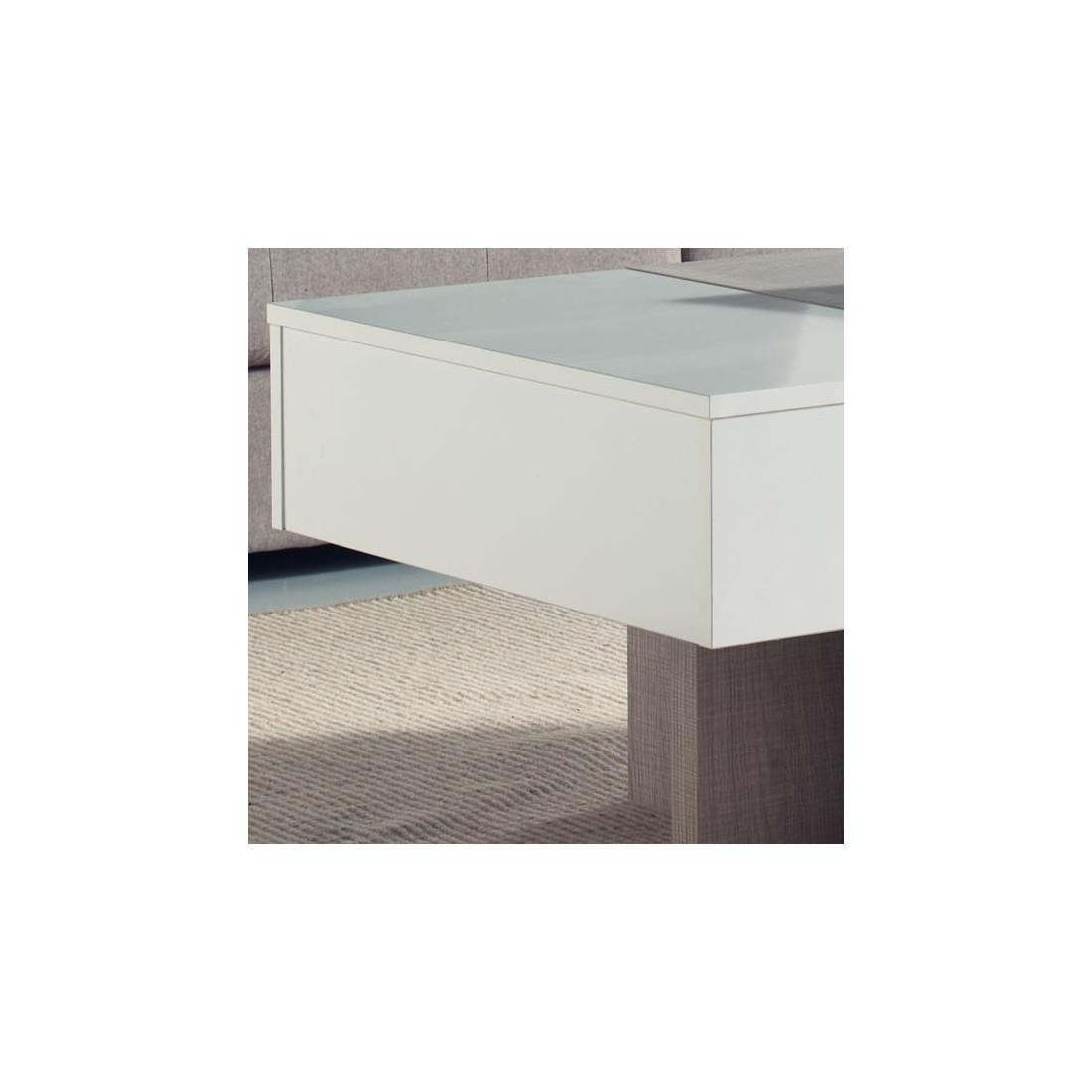 Table basse relevable blanc ch ne clair ajar salon for Table basse ch