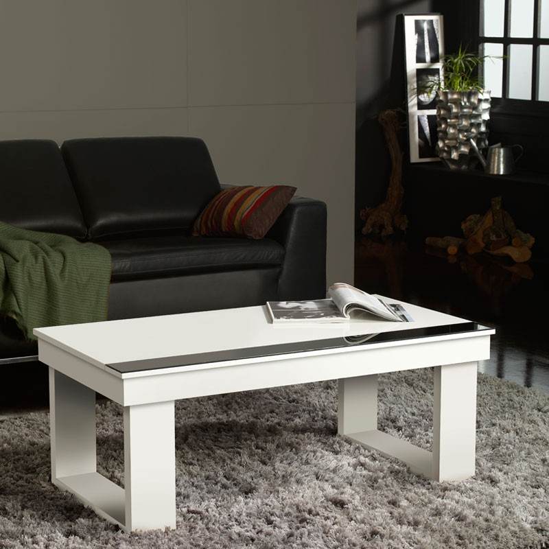 table basse relevable blanche upto univers du salon tousmesmeubles. Black Bedroom Furniture Sets. Home Design Ideas