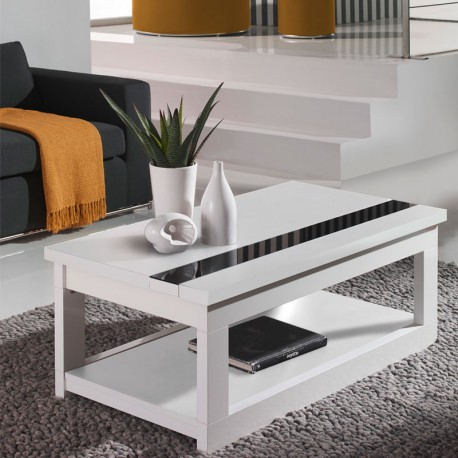 Table basse relevable blanche upti univers du salon tousmesmeubles - Table basse relevable blanche ...
