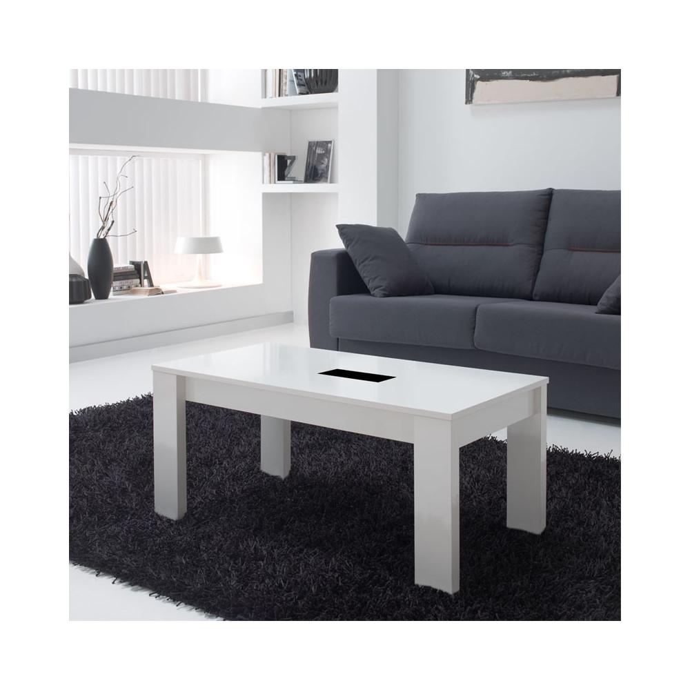 Table basse blanche relevable MYSIA - Univers du Salon: Tousmesmeubles