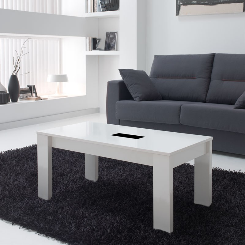 table basse blanche relevable mysia univers du salon. Black Bedroom Furniture Sets. Home Design Ideas