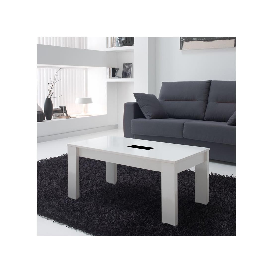 Table basse blanche relevable moderne n 1 mysia univers du salon for Table salon moderne