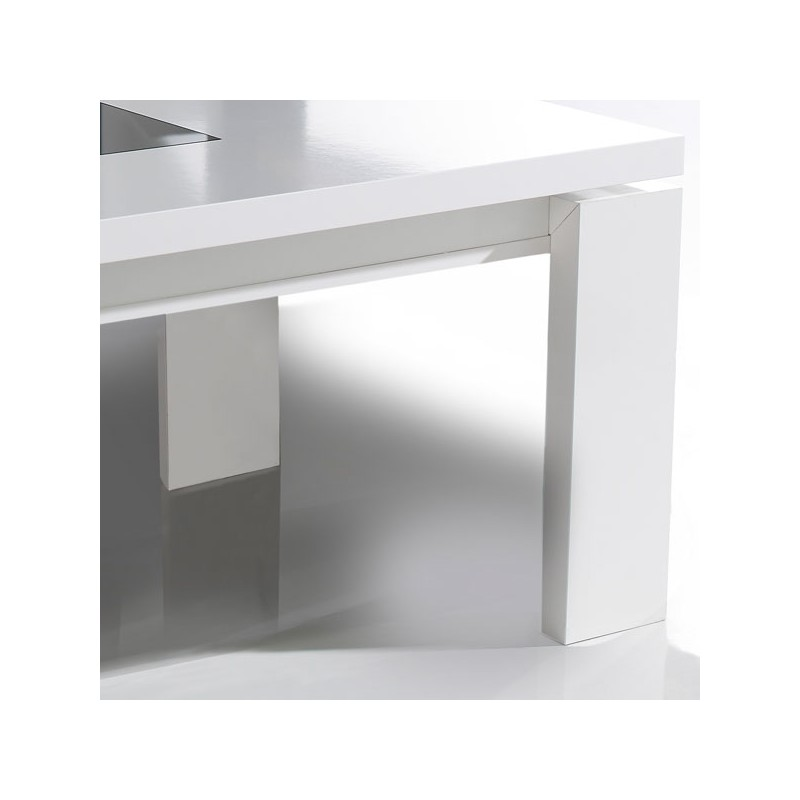 Table basse relevable blanche romie univers du salon tousmesmeubles - Table basse relevable blanche ...