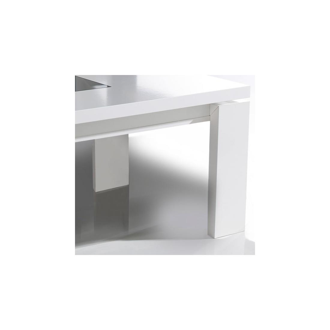 Table basse relevable blanche romie univers du salon - Table basse blanche relevable ...