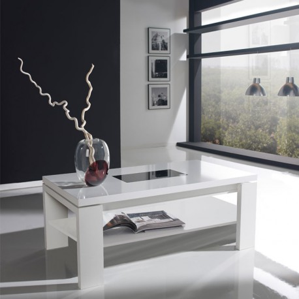 Table basse relevable blanche FENDA - Univers du Salon: Tousmesmeubles