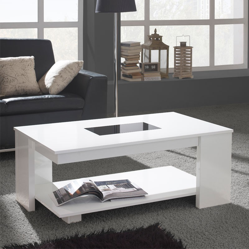 Table basse relevable blanche dipa univers du salon tousmesmeubles - Table basse relevable blanche ...