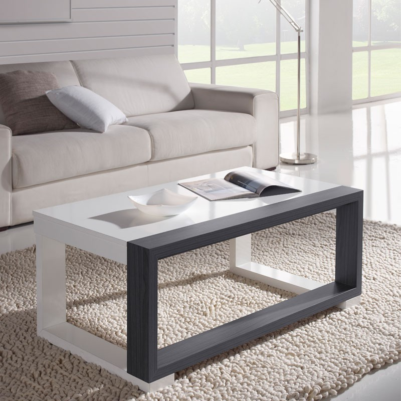 Table basse relevable blanc cendre salma le salon tousmesmeubles - Table basse relevable blanc ...