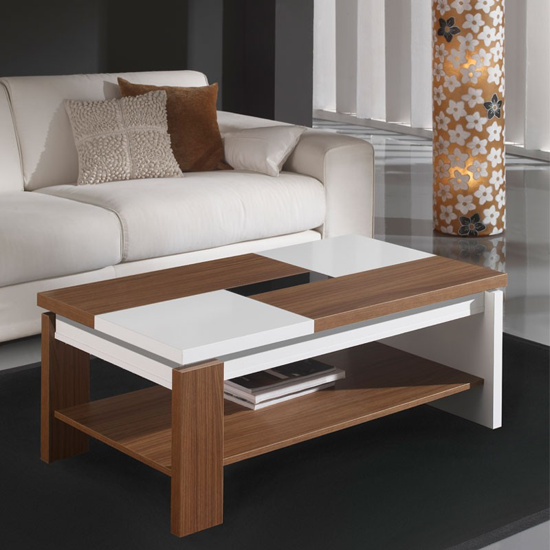 Table basse relevable blanc noyer lilau univers salon for Table de salon moderne blanc