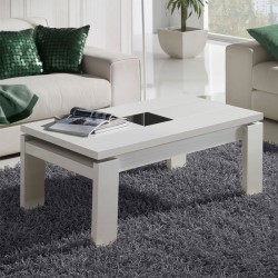 Table basse blanche relevable DILIA - Univers du salon: Tousmesmeubles