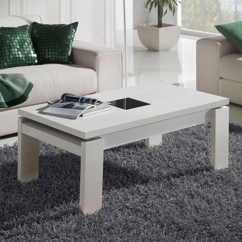 Table basse blanche relevable dilia univers du salon tousmesmeubles - Table basse relevable blanche ...