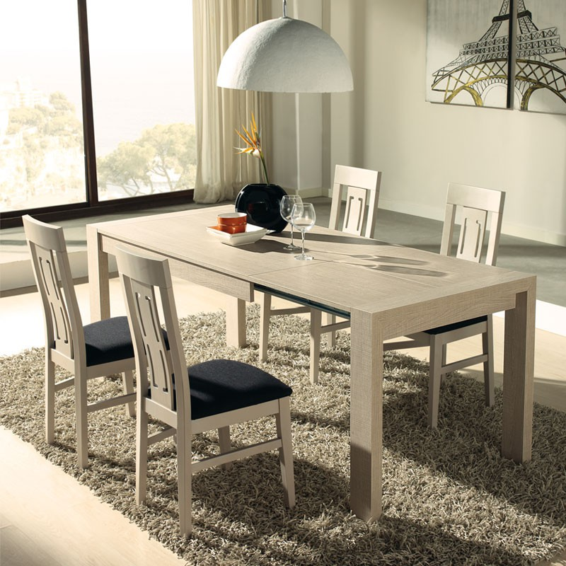 table chaises ch ne clair afia salle manger tousmesmeubles. Black Bedroom Furniture Sets. Home Design Ideas