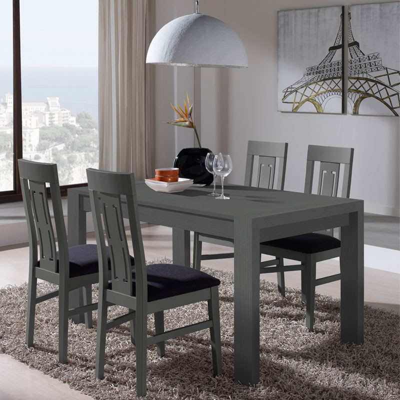 table chaises d cor cendre afia salle manger tousmesmeubles. Black Bedroom Furniture Sets. Home Design Ideas