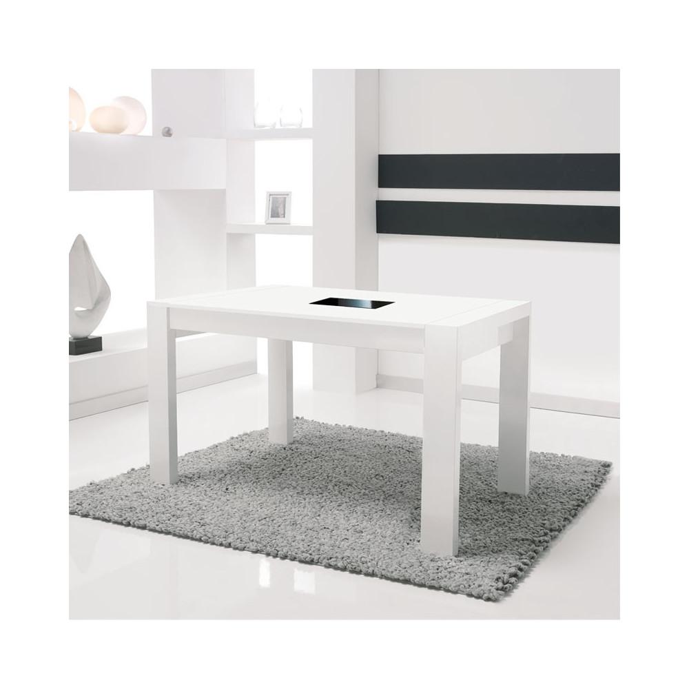 Table de repas à allonges blanche NATY - Salle à manger: Tousmesmeubles