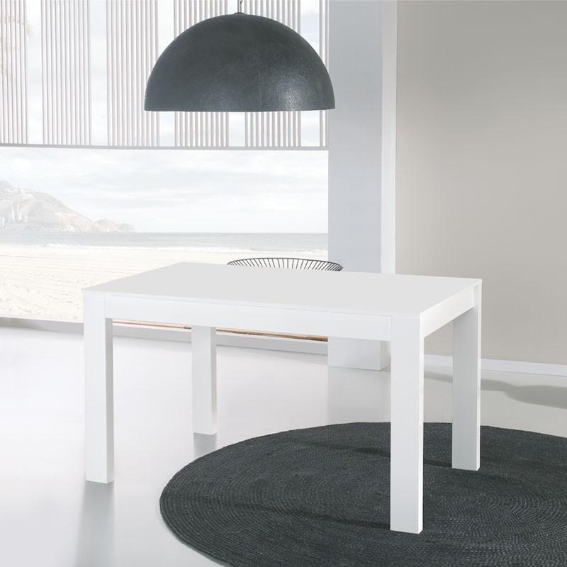 Table de repas à allonges blanche TOVA - Salle à manger: Tousmesmeubles