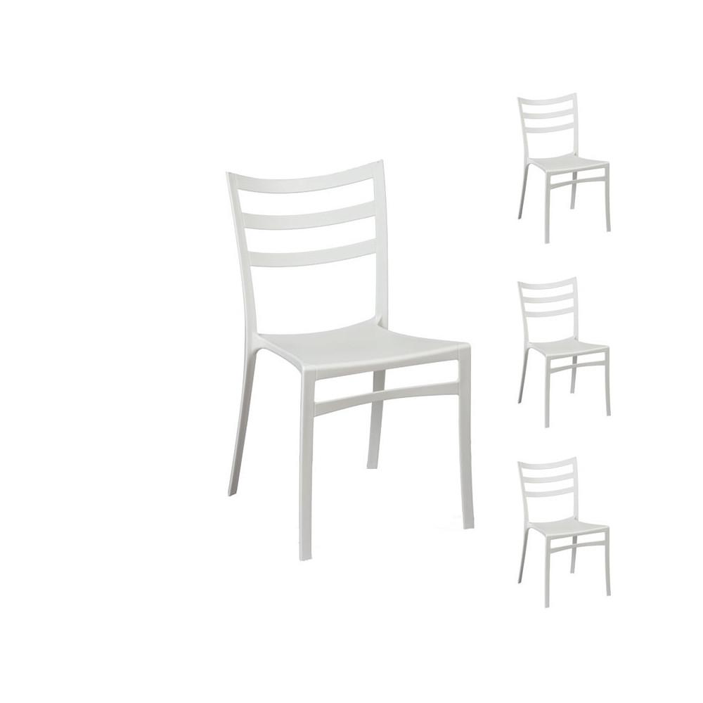 Quatuor de chaises blanches mya univers salle manger for Soldes chaises blanches