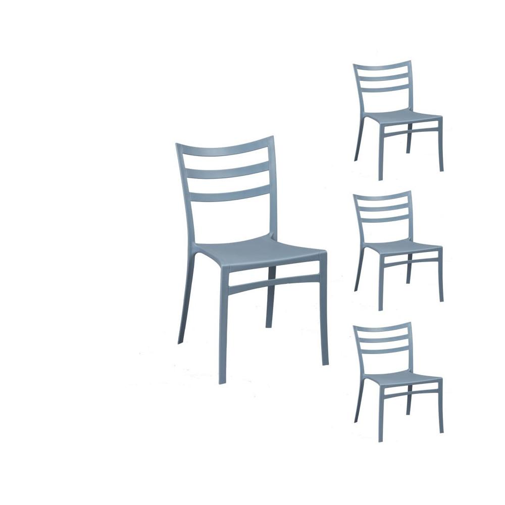 Quatuor de chaises Gris/Bleu