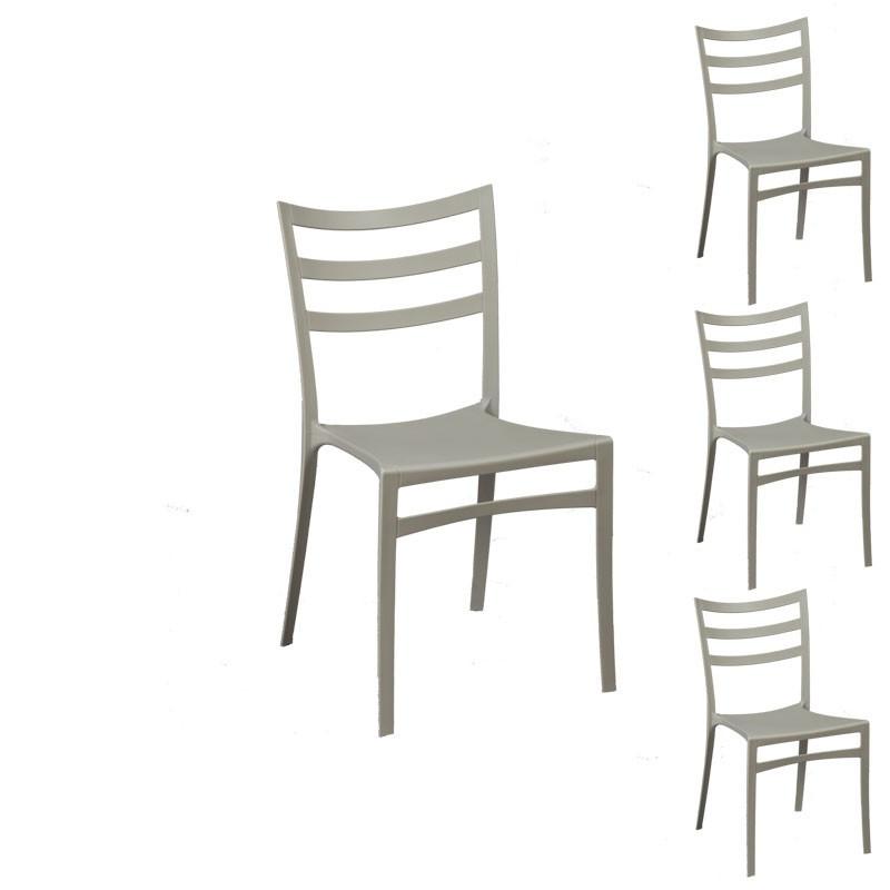 Quatuor de chaises Gris clair