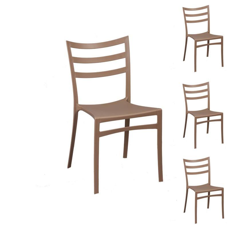 Quatuor de chaises Marron
