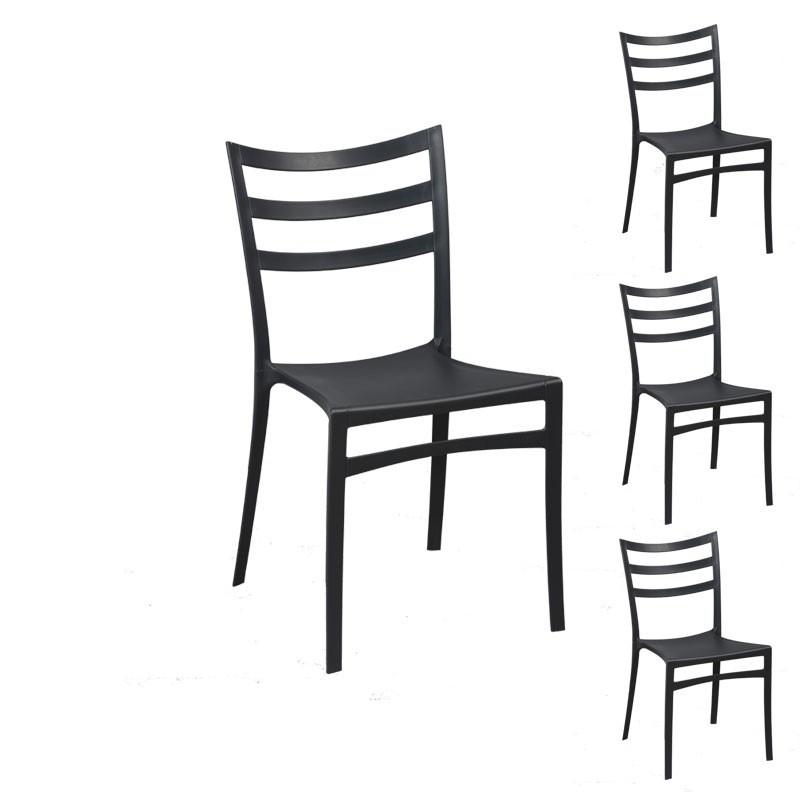 Quatuor de chaises Noires