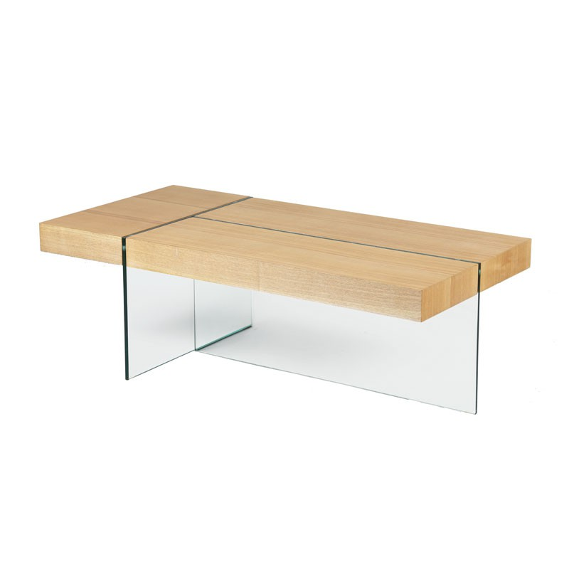 Table basse verre et bois zorg n 3 univers salon tousmesmeubles - Table basse ovale bois ...