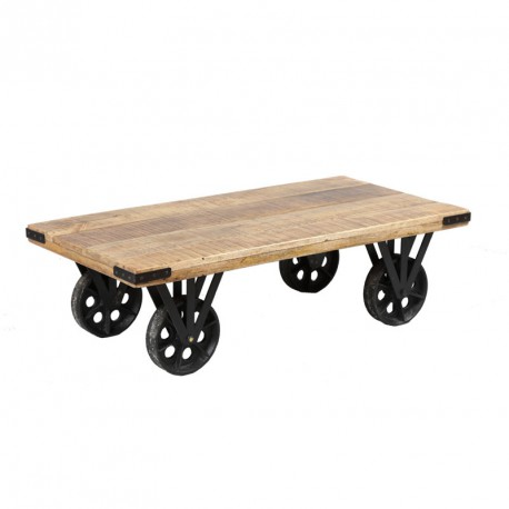 Table basse sur roues bois et acier