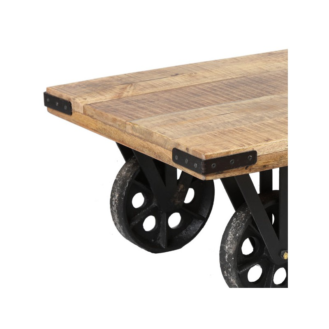 Table basse sur roues bois et acier aglae salon - Table basse bois acier ...