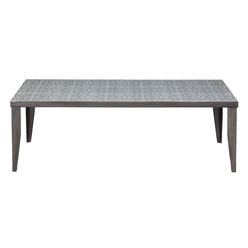 Table basse palette et carreaux de ciment for Table de jardin en ciment