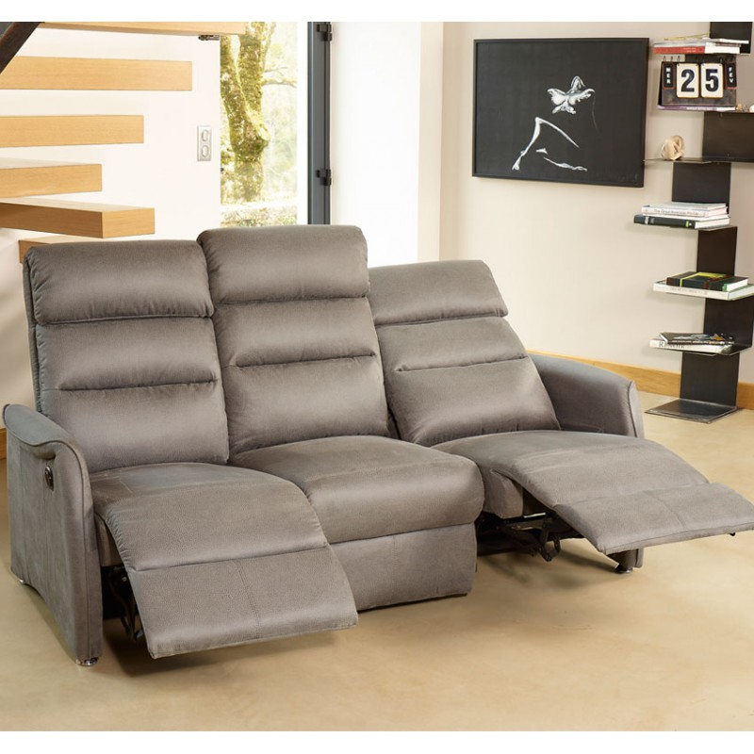 canap de relax lectrique 3p gris softy univers salon tousmesmeubles. Black Bedroom Furniture Sets. Home Design Ideas