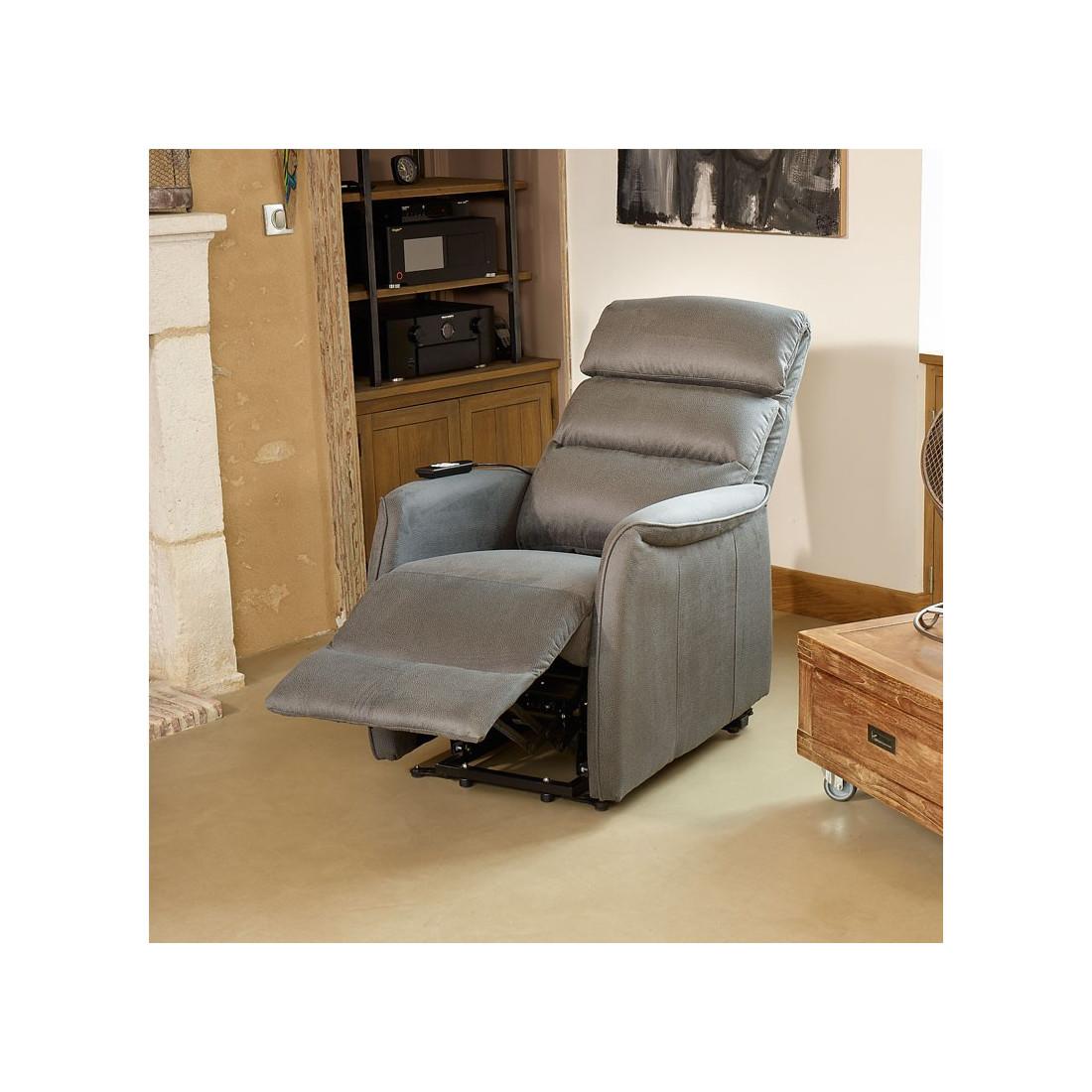 Fauteuil de relaxation gris softy univers du salon tousmesmeubles - Fauteuils electriques relaxation ...