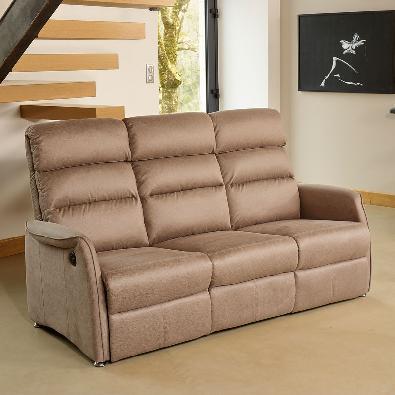 Canapé Relax électrique 3 places Marron cendré SOFTY L 196 x l 90 165 x H 107 80
