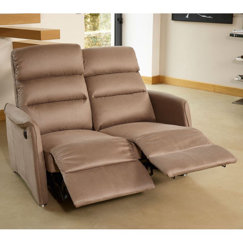 Canap relax el 2p marron cendr softy univers salon - Canape 2 places relax ...