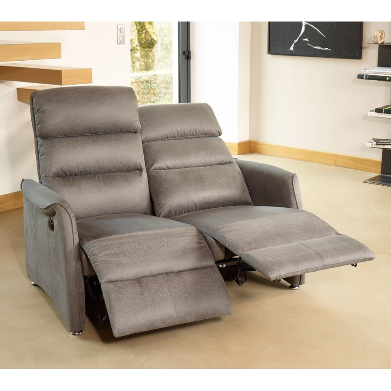 Canap relax lectrique 2p gris softy univers salon for Canape relax electrique
