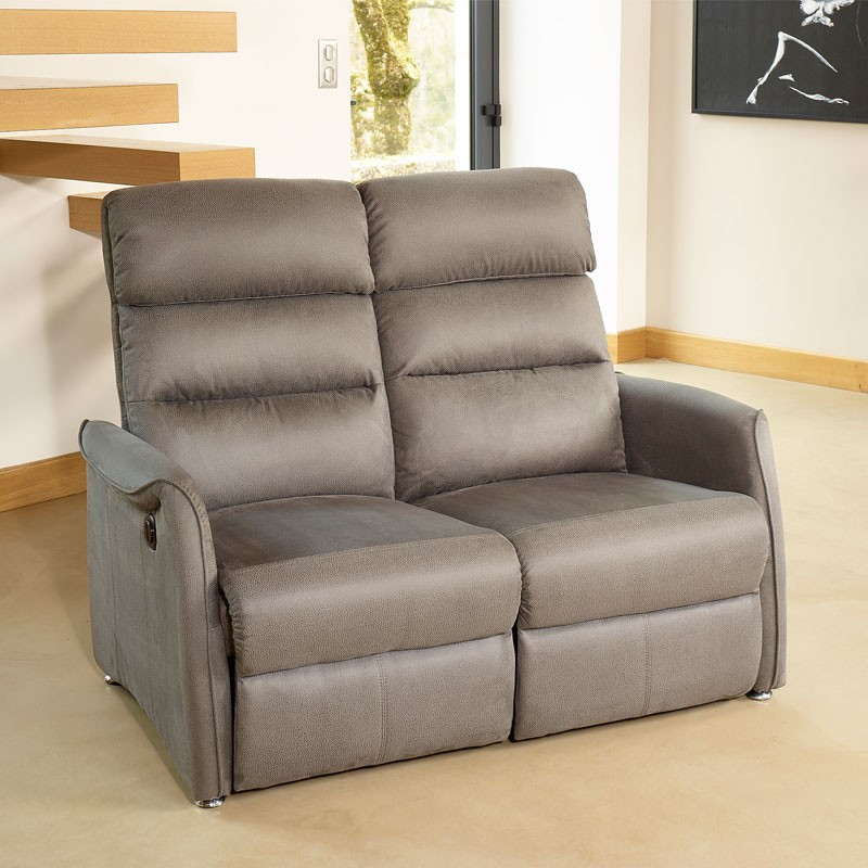 Canap relax lectrique 2p gris softy univers salon tousmesmeubles - Canape relax electrique microfibre ...