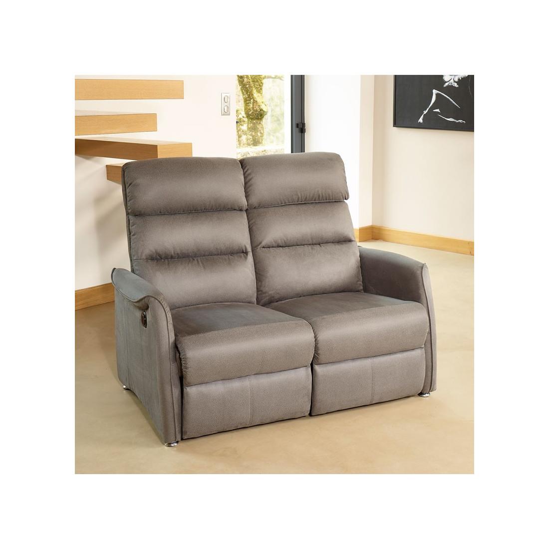 Canapé de Relaxation électrique 2 places Gris SOFTY